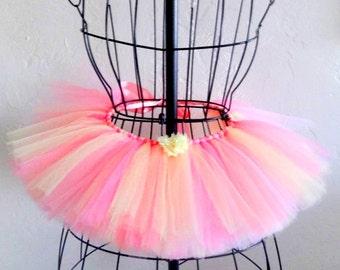 Girls Easter tutu, Baby spring tutu, Pink and yellow tutu, Girls pastel tutu, Baby Easter tutu, Embellished tutu, Childrens tutu