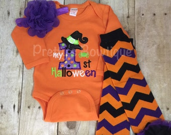 My 1st Halloween Witch outfit bodysuit or t shirt, headband, and legwarmers Adorable orange