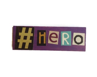 Fridge Magnet | # HERO | Comic Book | Home Decor | Office magnet | Recycled Gift |  Man Cave | FOR HIM |