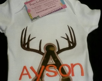 Deer horns and camo applique with name