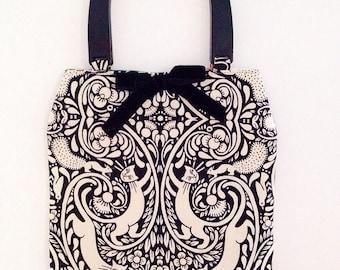 Handmade bag in unusual art deco style cat fabric