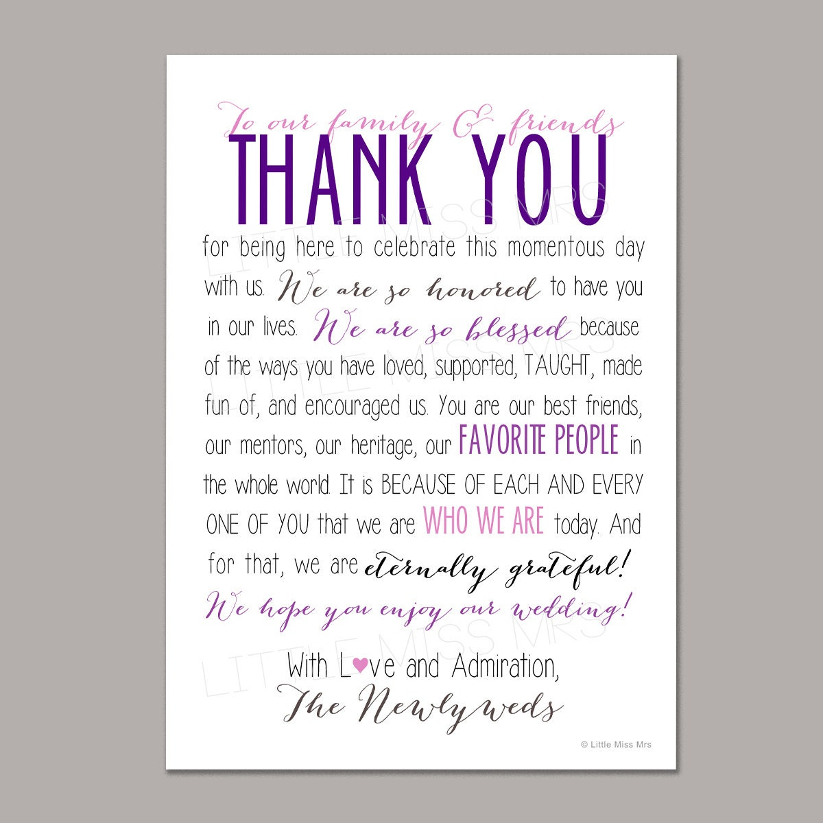 Thank You Notes For Wedding Anniversary Gifts : thank you notes for wedding printable wedding reception thank you note ...