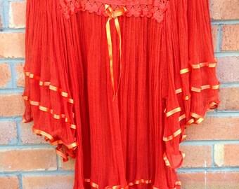 Mexican gauze, sheer crochet tunic/blouse