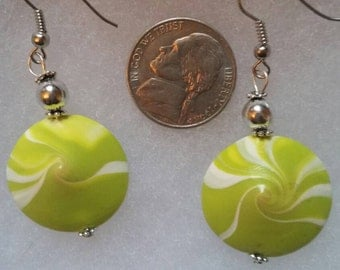 Hand crafted summer green swirl earrings