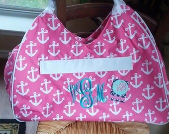Monogrammed Large Tote - SALE - Pink Anchor - Beach - Travel
