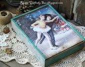 Christmas Wooden Decoupage Box-Memory Box-Keepsake Box-Storage Box-Christmas Gift Box-Christmas Card Box-Vintage Christmas Box