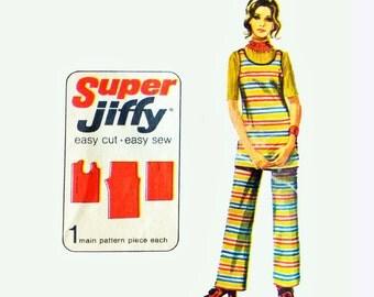Vintage 70s Pantsuit Pattern / Pants & Tunic Top 1970s Boho Sewing Patterns Womens Vintage Simplicity 9161 Jiffy Pattern Split Skirt Pattern