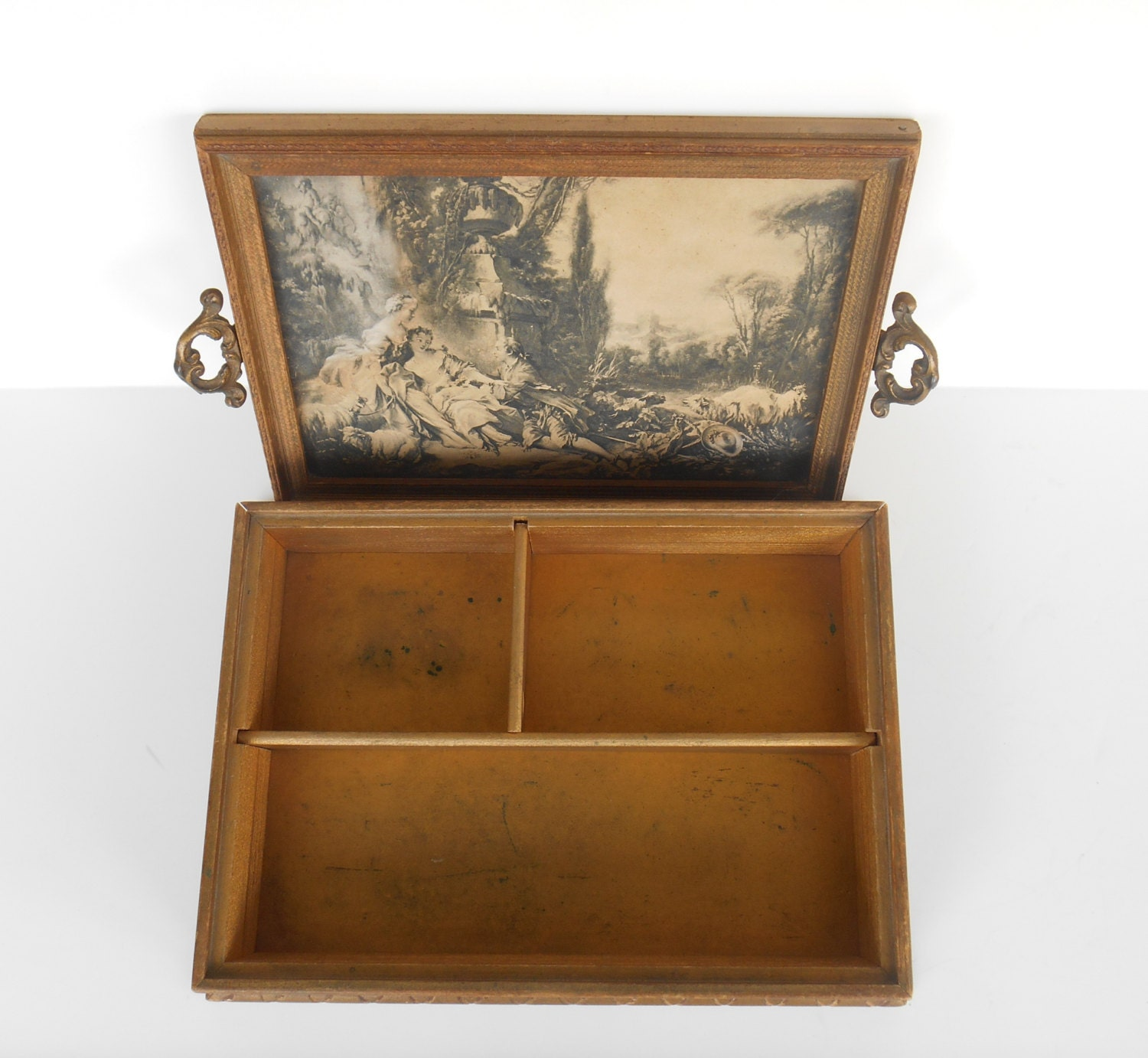 Victorian wooden jewelry box framed mirror and print with for Mirror jewelry box