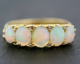Antique Opal Ring - Victorian 18ct Gold Opal & Diamond 5-stone Ring