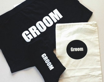 Groom gift set - includes boxers, socks and gift bag, groomsman gift, bestman gift, groomsman groom bestman  boxer underwear groom socks
