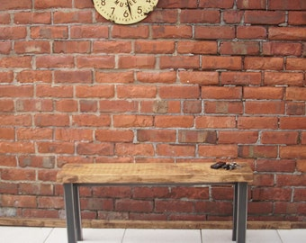 Hallway bench with straight metal legs rustic industrial dining bench