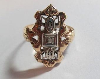 Ladies vintage 14kt yellow gold filigree ring with rose cut diamonds
