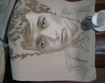 Original hand-drawn portrait of a young Bob Dylan, in charcoal and pastel on calico