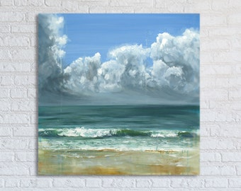 "Ocean Painting Sea Art Oil Original // ""Peppermint Cove"" 30 x 30"" Canvas"