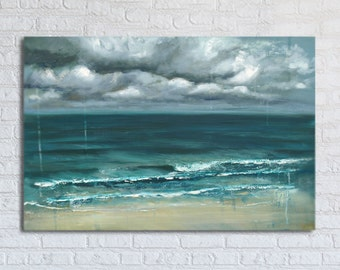 "Ocean Painting Sea Art Oil Original // ""Cyanide Skies"" 20 x 30"" Canvas"