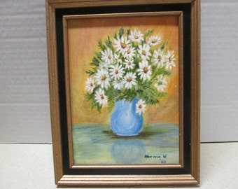 Vintage Floral Still Life Signed Oil Painting - Daisies in Blue Vase