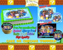 Super Smash Bros Personalized edible cake Topper or cupcake tops Birthday - Sugar icing frosting sheet picture photo Mario brawl round paper