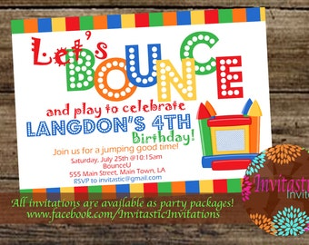 Bounce House Birthday Invitation, Bounce House Invite, Jump Party, Bounce and Play theme printable or printed card birthday party invitation