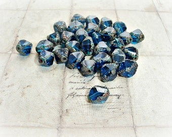 10 x Electric Blue Bicone Czech Glass Picasso Beads