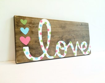Baby Girl Nursery Decor - Wood Sign - Nursery Sign - Baby Gift - Painted Sign - Baby Shower Gift - Wooden Love Sign - Nursery Art