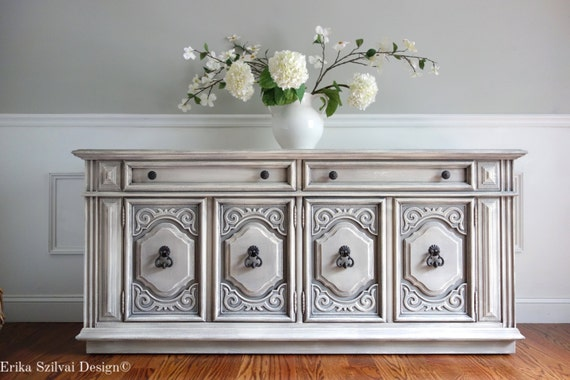 RESERVED for Betty Vintage Ornate THOMASVILLE Furniture Hand Painted  Weathered Antique White Grey Buffet. RESERVED - Thomasville Antique Furniture Creatopliste.com