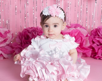 Pink & White Chiffon 1st Birthday Flower Headband, Baby Headband, Toddler Headband, Infant Headband