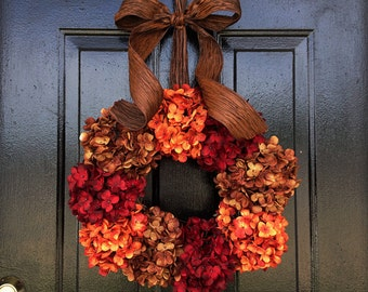 Fall wreath, fall hydrangeas. Thanksgiving wreath. wreath for fall. fall door wreath.