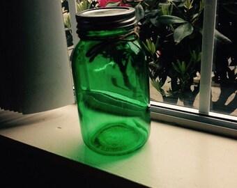 Green hand tinted mason jar *On sale!*, Mason jars, green jars, green decor