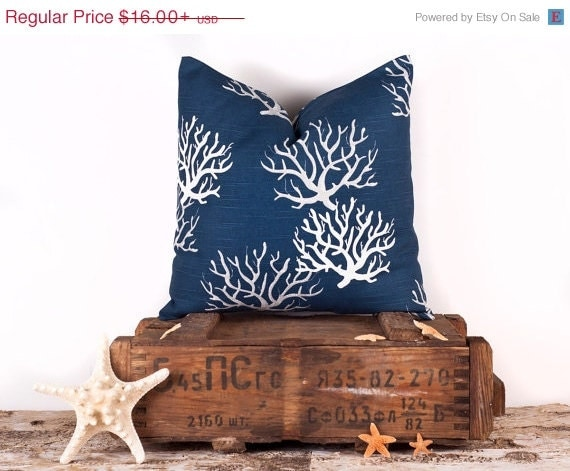 SALE ENDS SOON Navy Blue Throw Pillow Cover Nautical by LilyPillow