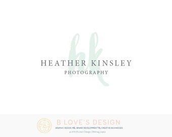 PreMade Watercolor Initials Logo for Small Business, Photography, Design, Blog