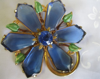 Blue Glass Flower Brooch with Enameled Leaves