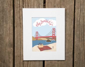 San Francisco California City Beach Art Mounted Matted Signed Illustration Glicee Art, Golden Gate Bridge Illustration