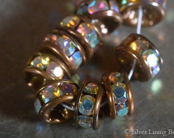 NEW! No. 6 Copper AB Wafers (6) - 6mm Rhinestone Rondelle - Antique Copper & Clear Crystal