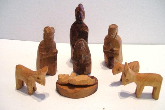Vintage wooden nativity set pc hand carved olive wood israel