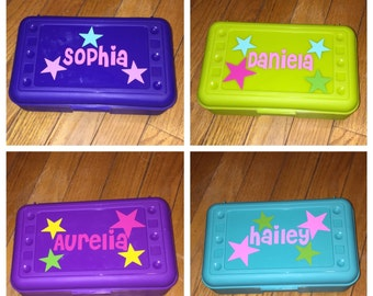 Personalized Back to School Pencil Box - Stars/Girly
