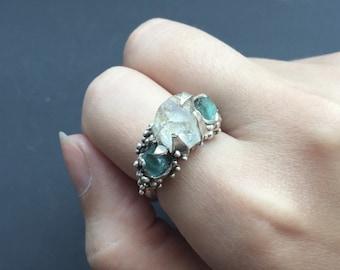 Mermaid Ring Raw Rough Stone Solid Sterling Silver White Topaz Apatite Mermaid Engagement Ring