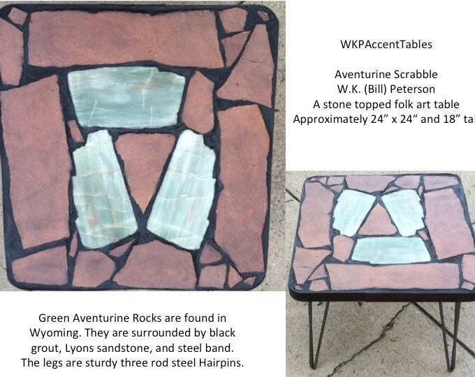 "Aventurine Scrabble: A 24 x24 x 18"" tall stone topped folk art table"