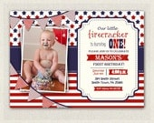 Fourth of July Birthday Invitation Gender Neutral Boy Girl First Birthday Invitation Custom Invite 4th July patriot red white and blue #129
