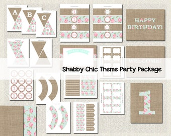 Shabby Chic Girls Printable Party Package Pink Floral Party Package PDF Girls 1st Birthday Instant Download 135