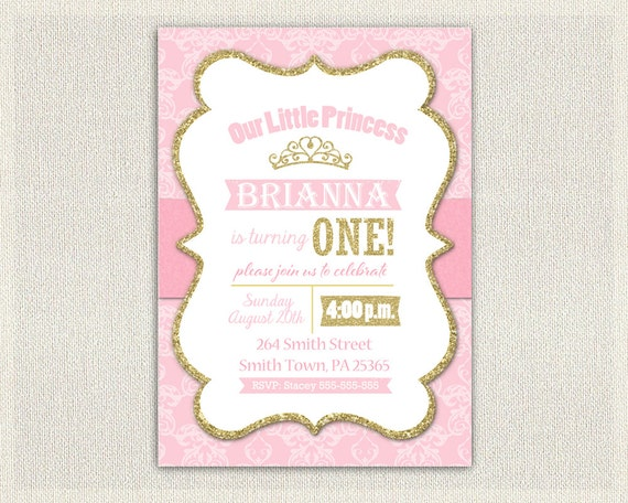 First Birthday Invitation Gold and Pink Princess Invitations Pink – Golden Birthday Invitation