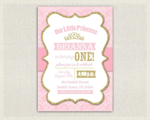First Birthday Invitation Gold And Pink Princess Invitations - 1st birthday invitations gold and pink