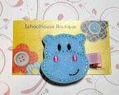 Blue Hippo Felt Hair Clips - Felties - Feltie Hair Clip - Felt Hairbow - Felt Hair Clips - Felt Hair Clippie-Party Favor