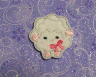 Sheep or Lamb with Bow felties, feltie, machine embroidered, felt applique, felt embellishment, hair bow supplies