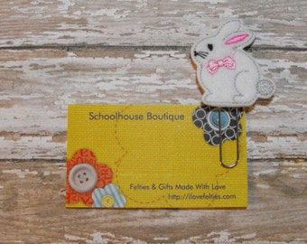 Bunny Rabbit felt paperclip bookmark, felt bookmark, paperclip bookmark, feltie paperclip, christmas gift, teacher gift