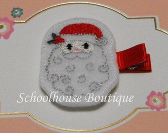Christmas Santa Felt Hair Clips, Felties, Feltie Hair Clip, Felt Hairbow, Felt Hair Clip, Felt Hair Clippie, Party Favor