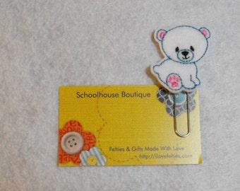 Polar Bear felt Paperclip bookmark, felt bookmark, paperclip bookmark, feltie paperclip, christmas gift, teacher gift