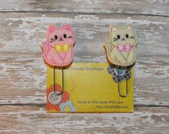 Set of 2 Girl Kitty Cat felt Paperclip bookmark, felt bookmark, paperclip bookmark, feltie paperclip, christmas gift, teacher gift