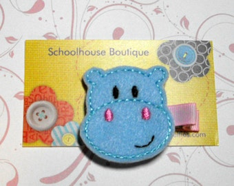 Blue Hippo Felt Hair Clips - Felties - Feltie Hair Clip - Felt Hairbow - Felt Hair Clips - Felt Hair Clippie-Party Favor