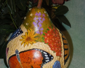 Butterfly decorative carved & painted gourd with butterfly earrings and crystals, original, gourd art, collectible, home decor, gift