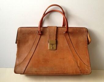 FREE SHIPPING Vintage Brown Leather Satchel/ Vintage Leather Messenger/ Leather Briefcase/ Mens Briefcase/ Tan Leather Briefcase/ Laptop Bag